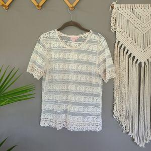 Hearts | Sheer mesh Crochet hem top sz Medium